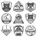 Vintage Monochrome Writer Labels Set Royalty Free Stock Photo