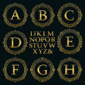 Vintage monogram kit. Golden letters and floral round frames Royalty Free Stock Photo
