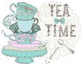 Vintage morning tea time background illustration for design Stock Image