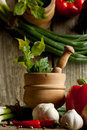 Vintage mortar and mix of vegetables with reflex Royalty Free Stock Photo