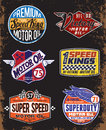 Vintage Motor Oil Signs and Label Set Royalty Free Stock Photo