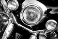 Vintage motorbike retro motorcycle with headlights on black and white colors Royalty Free Stock Photos
