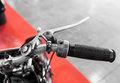 Vintage motorcycle with gear lever on the handlebar Royalty Free Stock Photo