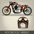 Vintage motorcycle and helmet Stock Photography