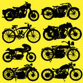 Vintage motorcycle motorbike vector yellow background Royalty Free Stock Images
