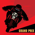 Vintage motorcycle race label color illustration Stock Image