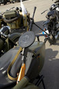 Vintage motorcycle with sidecar and machinegun Stock Photo