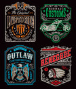 Vintage motorcycle t-shirt graphic set