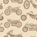 Vintage motorcycles Seamless Pattern. Bicycle Background. Extreme Biker Transport. Retro Old Style. Hand drawn Engraved
