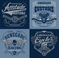 Vintage motorsport emblem t shirt graphics vector designs of suitable for multiple uses Stock Photo