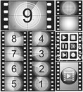 Vintage movie countdown on a 35mm silent film and 135 film frame Royalty Free Stock Photo