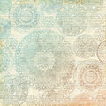 Vintage multicolor pastel lace doily background fancy design on ruled paper with handwritten text Stock Images