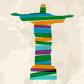 Vintage multicolor redeemer christ diversity colors transparent bands brazil monument over grunge background eps file version this Royalty Free Stock Images