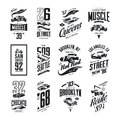 Vintage muscle, roadster, hot rod and classic car vector t-shirt logo isolated set Royalty Free Stock Photo