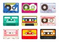 Vintage music cassettes. Retro dj sound tape, 1980s rave party stereo mix, old school record technology. Vector old 90s