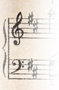 Vintage musical writings a and g string on a Royalty Free Stock Images