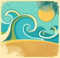 Vintage nature sea with waves and sun vector retro poster on old paper texture background Royalty Free Stock Photography