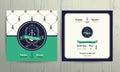 Vintage nautical anchor wreath wedding invitation card template