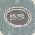 Vintage nautical card with retro alphabet. Stock Photo