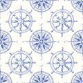Vintage Nautical Hand-Drawn Ship Steering Wheel and Sea Compass Vector Seamless Pattern. Blue Marine Background