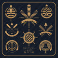Vintage nautical label set on dark striped background Royalty Free Stock Photo