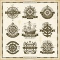 Vintage nautical labels collection Royalty Free Stock Photo