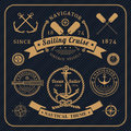 Vintage nautical labels set on dark background Royalty Free Stock Photo
