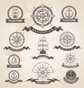 Vintage nautical marine label set retro vector design elements Stock Image