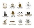 Vintage nautical, marine sailing, sea vessel vector labels, badges, logo