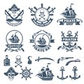 Vintage nautical and pirates labels. Monochrome logos of sea and sailing