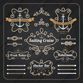 Vintage nautical rope frame labels set on dark wood background Royalty Free Stock Photo