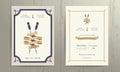 Vintage nautical twin paddles ribbon wedding invitation card template Royalty Free Stock Photo