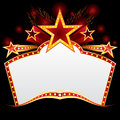 Vintage neon big red entertainment marquee with stars Royalty Free Stock Photography