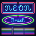 Vintage neon electric stroke custom pattern brushes, casino and xmas light border Royalty Free Stock Photo