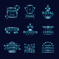 Vintage neon hipster poker club and casino signs Royalty Free Stock Photo