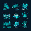 Vintage neon poker tournament and casino vector icons Royalty Free Stock Photo