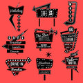Vintage neon sign black and white Royalty Free Stock Photo