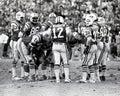 Vintage New York Jets huddle. Royalty Free Stock Photo