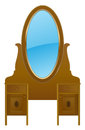 Vintage nightstand vector with mirror Stock Image