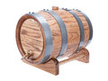 Vintage oak wine barrel isolated white background Stock Photo