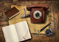 Vintage office equipment on old wooden table Stock Photo