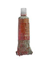 Vintage oil paint tube used red over white clipping path Royalty Free Stock Photo