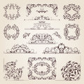 Vintage old banners, swirls, corners and different borders. Vector decorative frames. Design elements for your project