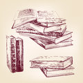 Vintage old books hand drawn set vector llustration realistic sketch Royalty Free Stock Photo