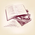 Vintage old books hand drawn vector llustration realistic sketch Stock Photography