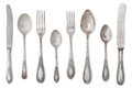Vintage old cutlery isolated on white background Stock Photography