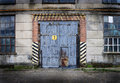 Vintage old factory with closed door Royalty Free Stock Photo
