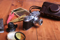 Vintage old film photo-camera in leather case Royalty Free Stock Photo