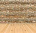 Vintage old grunge brick wall pine wood floor room architecture