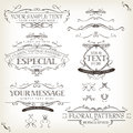 Vintage old labels banners and frame illustration of a set of retro frames sketched floral patterns ribbons graphic design Stock Photography